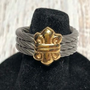 Vintage 6.5 7 Silver Gold Ring